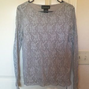 Tops - Lace Blouse-heather grey